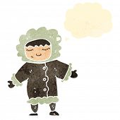 stock photo of eskimos  - retro cartoon eskimo with thought bubble - JPG
