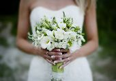 stock photo of floral bouquet  - Close up of beautiful floral wedding bouquet - JPG