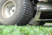 pic of grass-cutter  - lawn mower on fresh cut grass in the garden - JPG