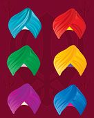foto of sikh  - an illustration of colorful sikh turbans on a red background with sikh symbol - JPG