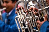 stock photo of trombone  - Trombones playing in a big band  - JPG