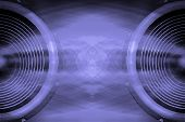 stock photo of distortion  - A purple audio speakers sound waves background - JPG