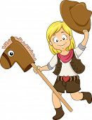 stock photo of cowgirl  - Illustration of a Kid Cowgirl riding a Toy Horse - JPG