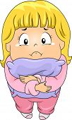 picture of sob  - Top View Illustration of a Little Kid Girl Hugging a Pillow while Crying - JPG