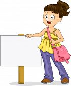 stock photo of sling bag  - Illustration of Little Kid Girl wearing a Sling Bag standing beside a Signage - JPG