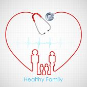 stock photo of emergency treatment  - illustration of family made of stethoscope on Healthcare and Medical background - JPG