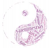 Tag or word cloud love or valentine's day related in shape of yinyang poster