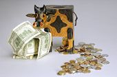 image of cash cow  - money box in shape of cow with bank notes and coins around - JPG