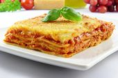 picture of lasagna  - fresh lasagna bolognese with basil on top - JPG