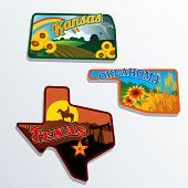 picture of memento  - Retro state shape illustrations of Kansas - JPG