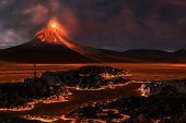stock photo of magma  - Red hot lava runs through the landscape as a volcanic mountain explodes with fire - JPG