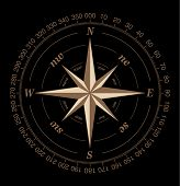 stock photo of compass rose  - Vector compass rose isolated on black background - JPG