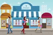 stock photo of boutique  - A vector illustration of stylist people shopping in an outdoor mall with French boutique style - JPG