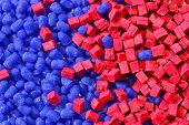 Blue/red Polymer Granulate