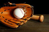 stock photo of bat  - Baseball glove - JPG