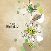 Birthday card with copy space Nice hand drawn illustration for greeting card, invitation, mother's d