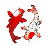 stock photo of koi fish  - Koi fishes yin yang with japanese flag symbol - JPG