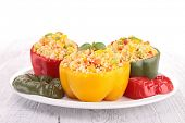 cooked bell pepper with couscous and vegetable