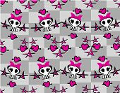 picture of emo  - Seamless emo skulls pattern background  - JPG