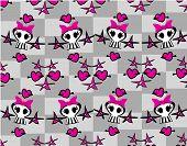 stock photo of emo  - Seamless emo skulls pattern background  - JPG