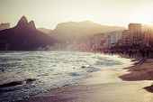 stock photo of brazil carnival  - View of Ipanema Beach in the evening Brazil - JPG