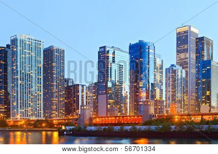 Colorful buildings in downtown Chicago during sunset