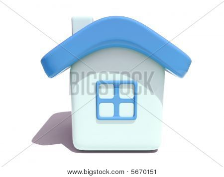 Simple 3D House With Blue Roof