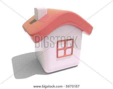 Simple 3D House With Red Roof
