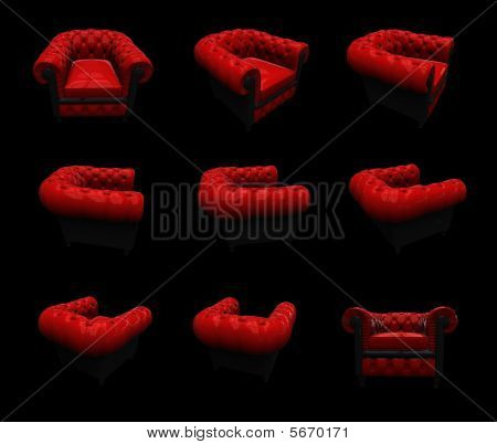 Red Armchair In Rotation
