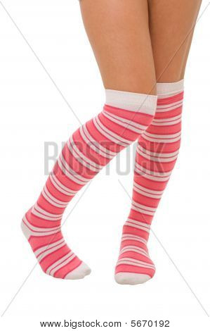 Woman Legs In Color Pink Socks Isolated