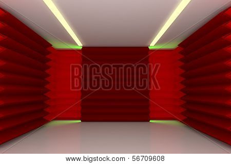 Abstract Red Wall In Empty Room
