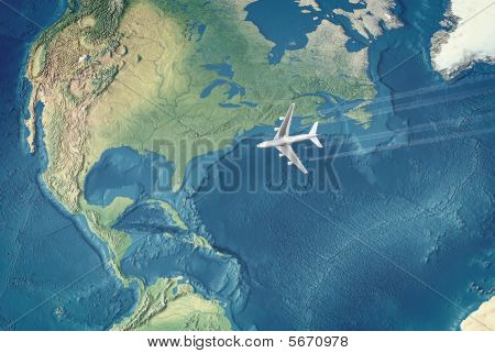 White Civil Airplane Over The Atlantic Ocean Flying To The Usa