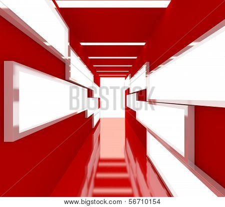 Abstract Red Interior Rendering