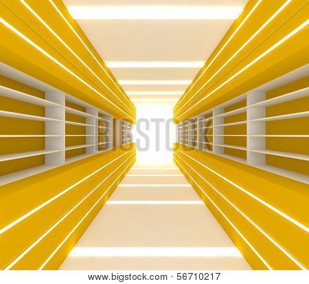 Yellow Room With Shelf