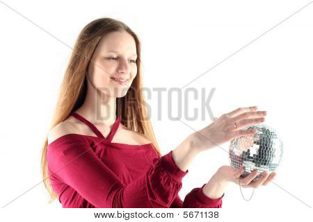 Young Woman With Glass Sphere Isolated On White Background