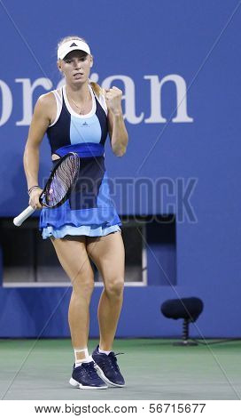 Professional tennis player Caroline Wozniacki during third round match at US Open 2013