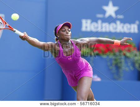 Professional tennis player Sloane Stephens during fourth  round match at US Open 2013