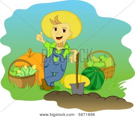 Happy farmer boy with excelent harvest