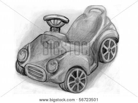 Pencil Drawing Of Children's Car