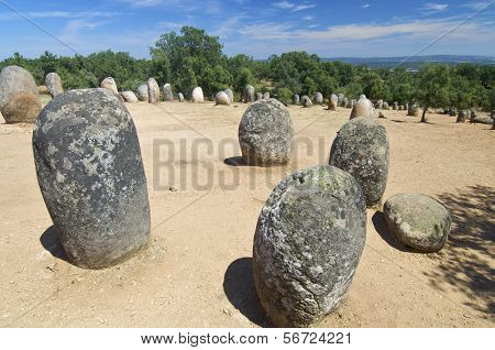 Almendres Cromlech in Evora, Portugal.