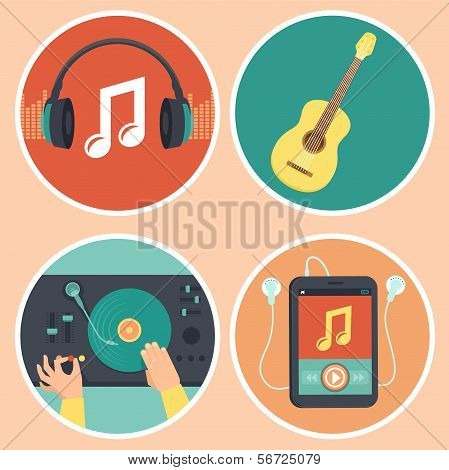 Vector Music Icons And Signs In Flat Style