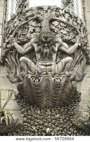 monstrous figure in the palace at Sintra, Portugal