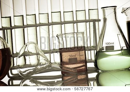 laboratory equipment at backlit