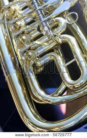 forefront of the moving parts of a tuba