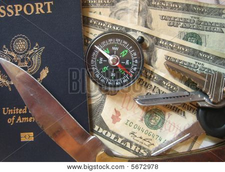 Passport Compass Keys Knife Cash 01