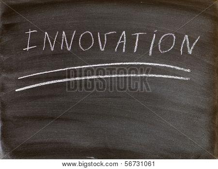 the word innovation handwritten on a blackboard