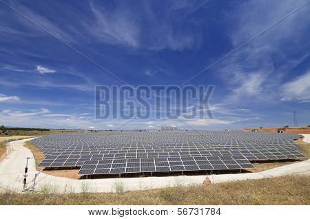 view of a huge solar field for renewable electric energy production