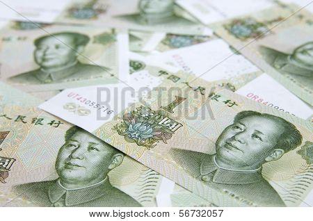 yuan bank notes close up