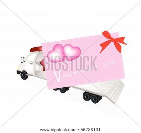 Tractor Trailer Flatbed Loading A Valentine Card