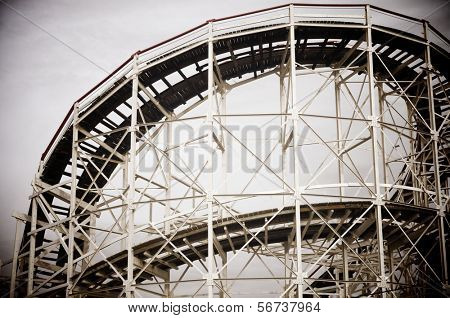 Cyclone Roller-coaster in the Coney Island Astroland Amusement Park, Usa
